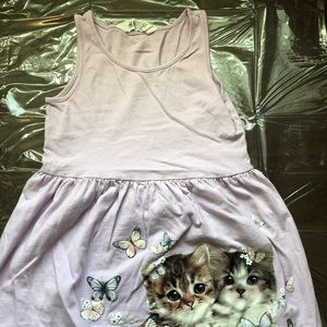 H&M little girl lilac tank dress with cat print